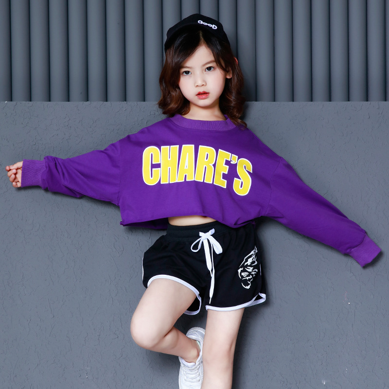 Purple Sweatshirt Black Short Pants Suit Hip Hop Costumes for Girls Kids Jazz Dance Clothes Children Hiphop Street Dance Wear