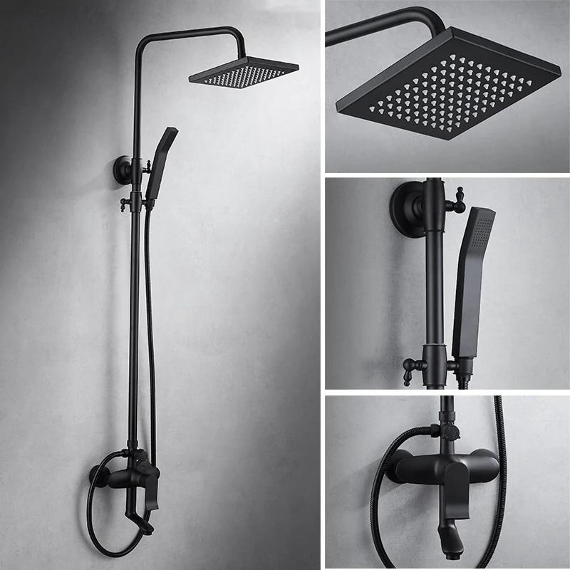 bathroom european shower black bronze shower set full copper retro shower faucet with dual handle black shower valve