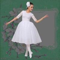 73e85c4e76 Ballerina White Swan Ballet Dress Women Salsa Lace Short Sleeve Adult Ballet  Dress Costumes Dance Clothes. Bailarina ballet Cisne Branco vestido ...