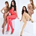 Mulheres De Longo Perfume Brilhante Glossy Meias Alta Tubo Superior Da Cintura Virilha Aberta Meias Moldar Stomacher Meia-calça Leggings FX12