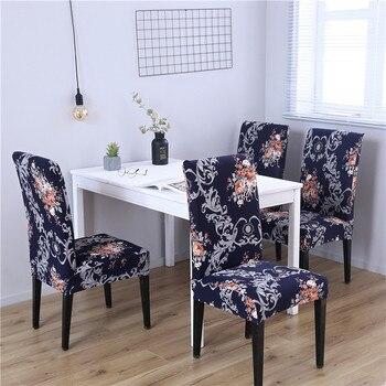 Funda de silla de LICRA para sillas modernas cubiertas elásticas de silla  de comedor para la cocina Europa impreso Banquete de cocina