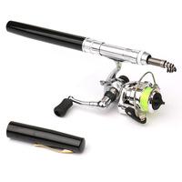 HOT Portable Pocket Mini   Fishing     Rod   Telescopic   Fishing   Pole Pen Shape Folded   Fishing     Rod   With Metal Spinning Reel Wheel