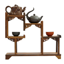 Ming and Qing mahogany furniture wenge new three-curio shelf Shelf antique teapot ornaments factory direct