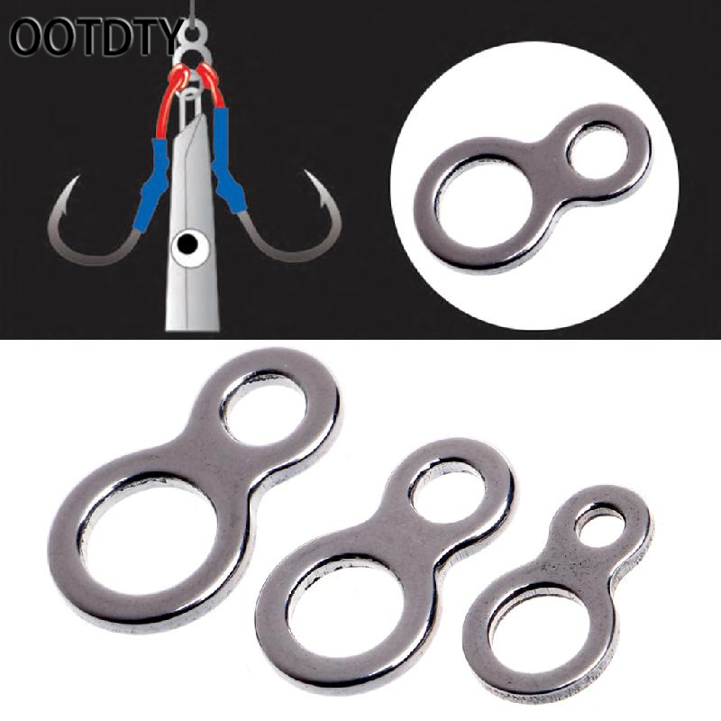OOTDTY Fishing Tools Ring Hook 10Pcs Fishing Butterfly Jigging Stainless Steel Figure 8 Solid Ring Assist Hook