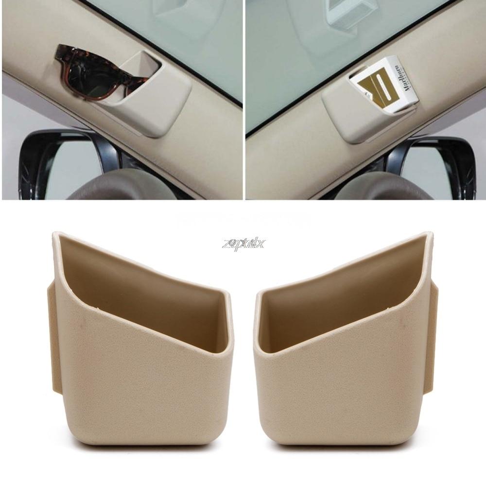 2X Universal Car Auto Accessories Glasses Organizer Storage Box Holder Beige Z11 Drop Ship