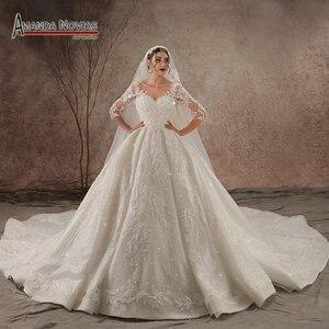 Image 1 - 2020 Luxury Shinny real photo Wedding Dress Three Quarter Sleeve Lace  beading Wedding Dress