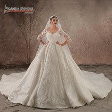 Robe de mariée luxueuse et brillante, robe de mariée, en dentelle et perle, manches trois quarts, photo réelle, 2020