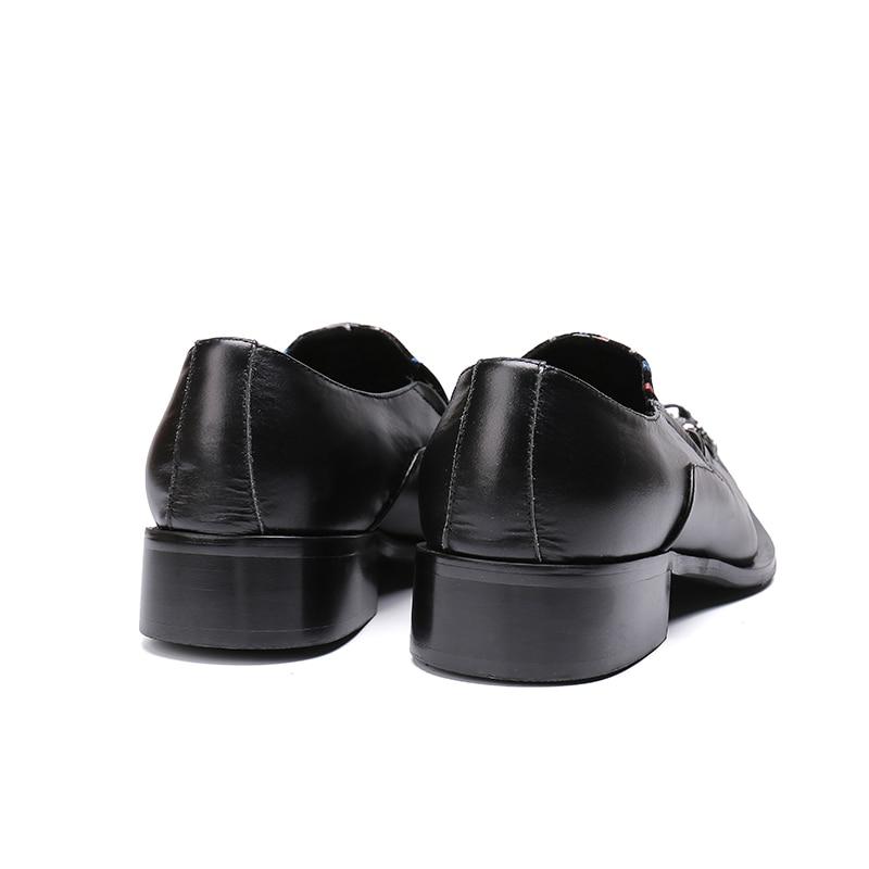 Kleid Loafers Formale Italienischen Schuhe Atmungsaktiv Schwarzes Schwarz Mabaiwan Business Toe Luxus Metall Party Wohnungen Kette Casual Männer xYUWv8