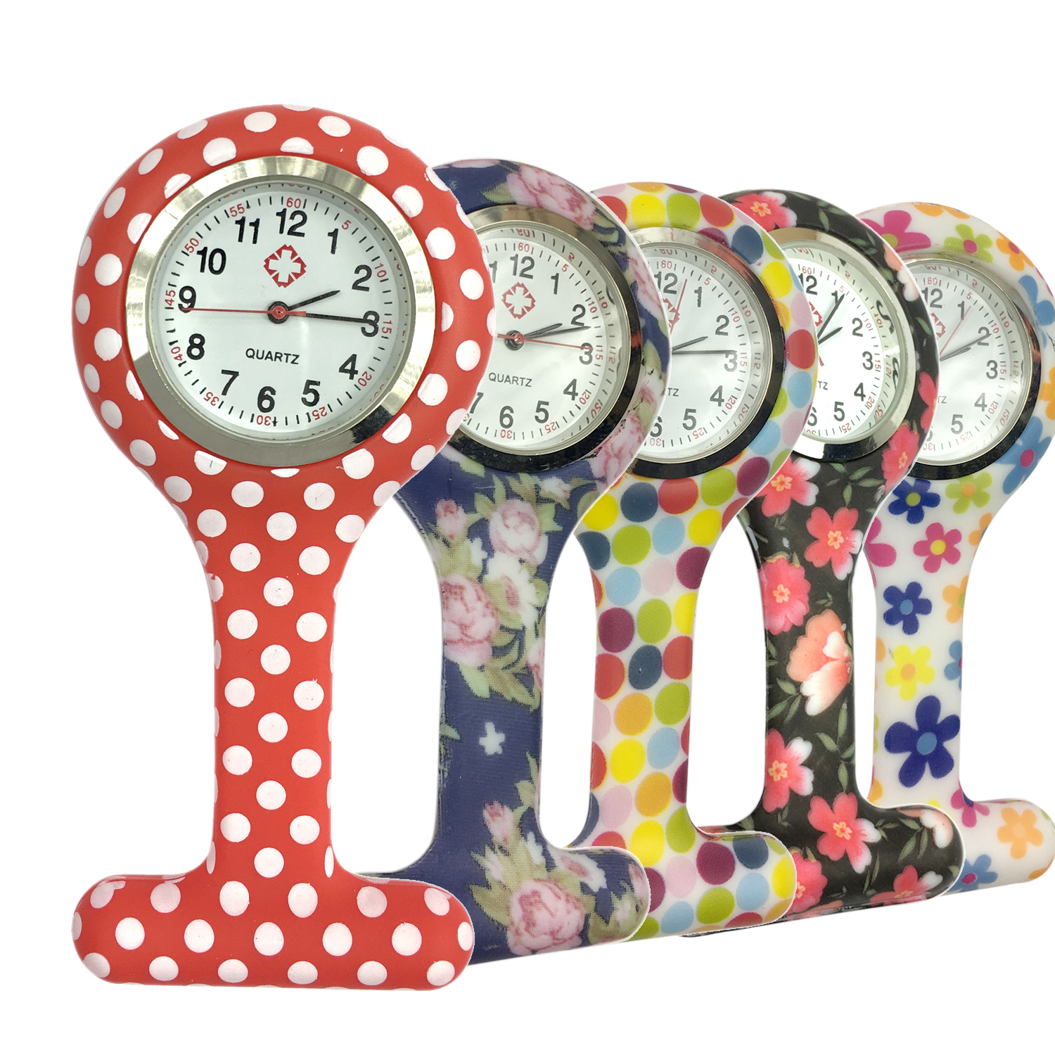 5pcs Set Round Clip Silicon Nurse Rubber Pocket FOB Watch Women Docter Hanging Medical Watch Free Shipping Gift Floral Printing