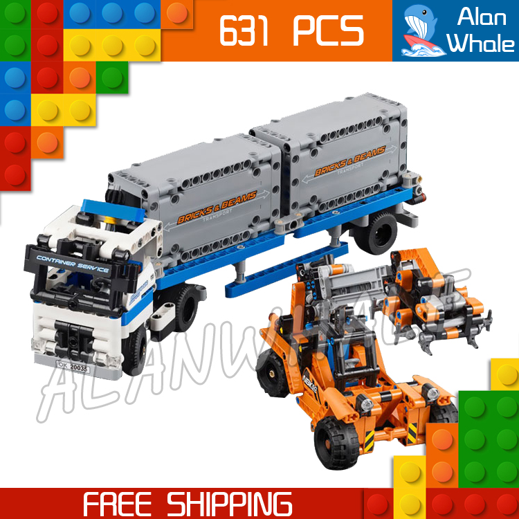 631pcs 2in1 Technic Container truck and loader Straddle-Carrier Yard 20035 Model Building Kit Blocks Toys Compatible With lego 3d model relief for cnc in stl file format animals and birds 2
