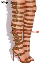 Sexy New Design font b Women b font Fashion Straps Combined Over Knee Gladiator Boots Spike