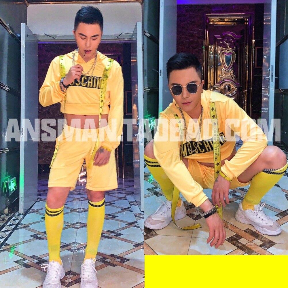 2019 nouveau mâle vêtements hommes chanteur DJ DS jaune hip hop à capuchon et shorts ensembles simple mode scène chanteur costume ensemble
