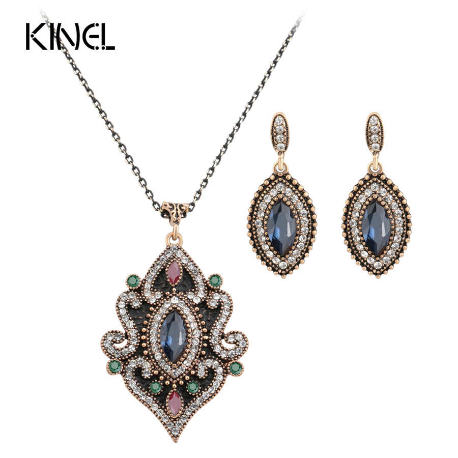 2017 Hot Dubai Resin Earring Drop Pendant Necklace Turkish Jewelry Sets For Women Antique Gold Rhinestone Wedding Accessories