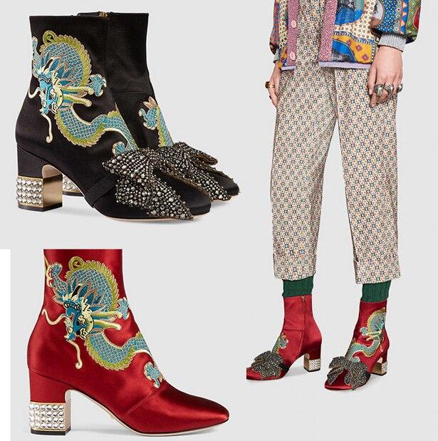 Femmes Satin soie véritable cuir bottines Bowknot broderie Dragon motif strass cristal chaussures de luxe nouveau 5 couleurs A1313