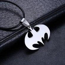 Модные мужские ювелирные изделия Бэтмен кулон из нержавеющей стали ожерелье s кожаная цепочка мужские Подвески ожерелье