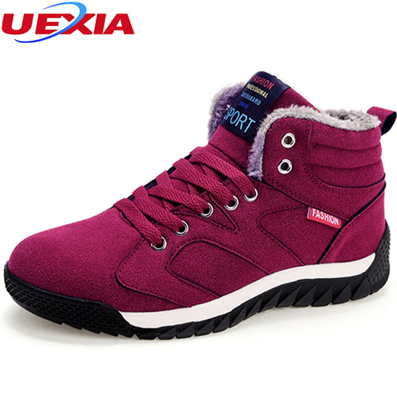 UEXIA Women Winter Boots Warm Outdoor Flats Platform Snow Ankle Boots Women Casual Shoes Round Toe Sneakers Female Botas Mujer aphixta women winter boots flat with warm platform snow ankle boots women shoes round toe female fur butterfly knot botas mujer