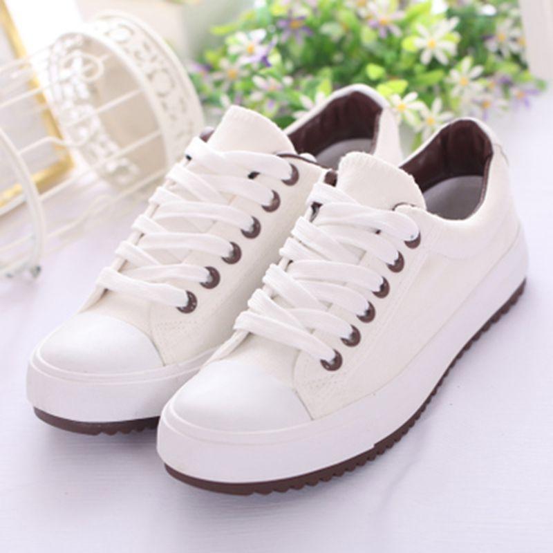30dd4b63e3 2017 zapatos de moda de Verano zapatos para mujeres amantes de los zapatos  de lona del color sólido femenino cordón zapatos casuales zapatos bajos de  las ...