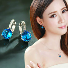 1pcs Sell Sea Is Blue Luxury Ear Dangle Drop Earrings For Women Round With Cubic Zircon Charm Flower Earrings Women Jewelry Gift(China)