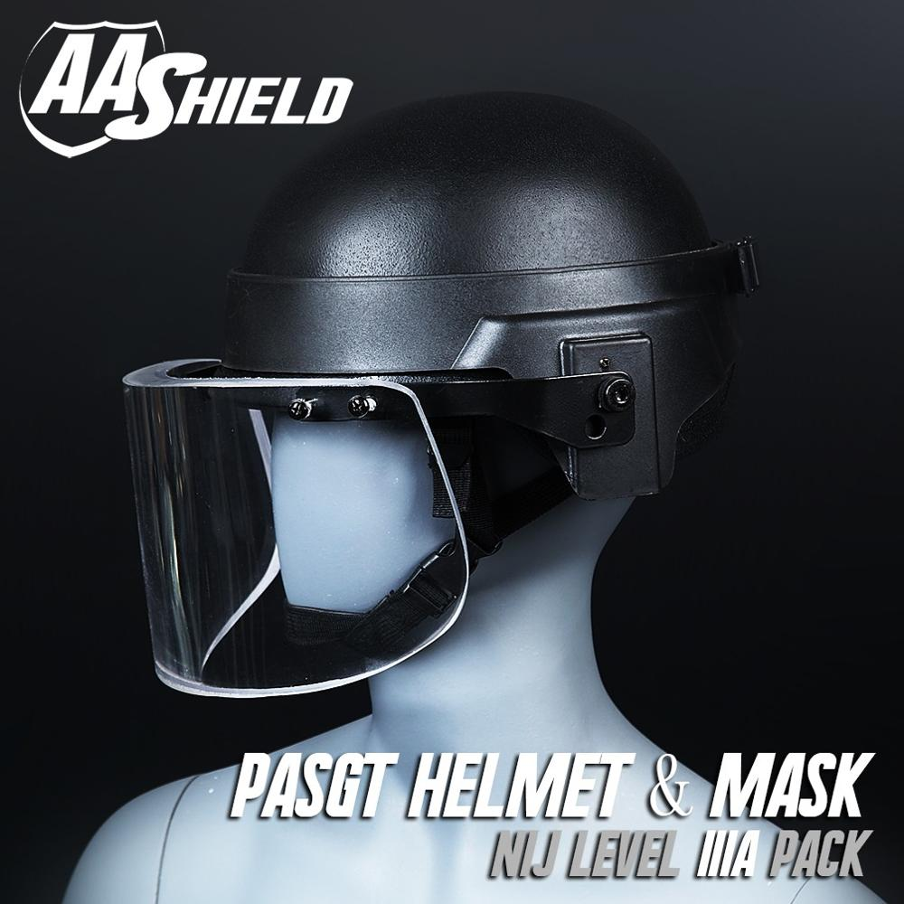 AA Shield Tactical Bulletproof USGI Ballistic Safety Helmet Visor Mask Body Armor Kit Aramid Core Lvl IIIA 3A