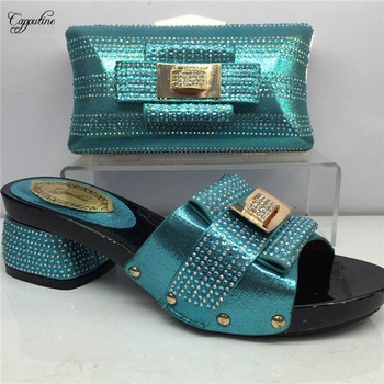 Most fashion African evening sandal shoes and handbag for party GY7 in sky blue , heel height 5cm