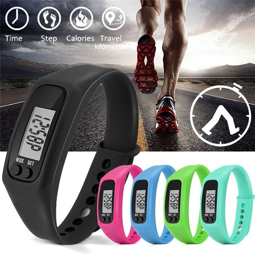 Выполните шаг часы браслет шагомер, счетчик калорий цифровой ЖК-дисплей пешком новый бренд Повседневное Бизнес Для женщин Для мужчин смотр…