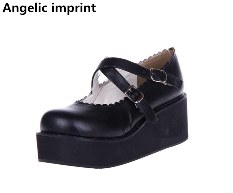 Angelic imprint mori girl lolita shoes woman cosplay shoes lady high wedges heels Pumps women princess