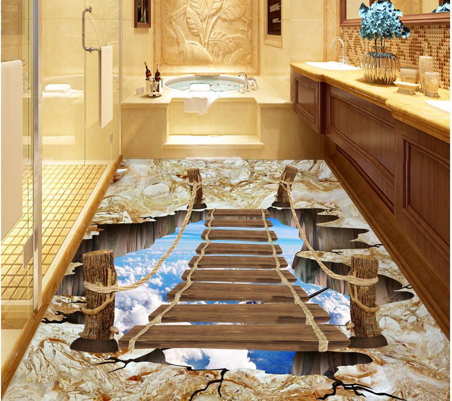 Wallpaper floor mural 3d stereoscopic outdoor wooden floor for Decoration murale papillon 3d