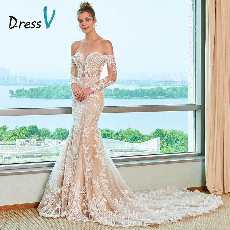 Dressv Custom Wedding Dress Sweetheart Neck Off Shoulder