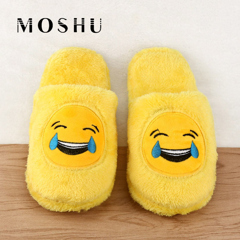 купить Winter Cotton Slippers Women Emoji QQ Expression Home Indoor Floor Slippers Yellow Soft Cartoon Female Casual Shoes Fur Slides по цене 348.83 рублей