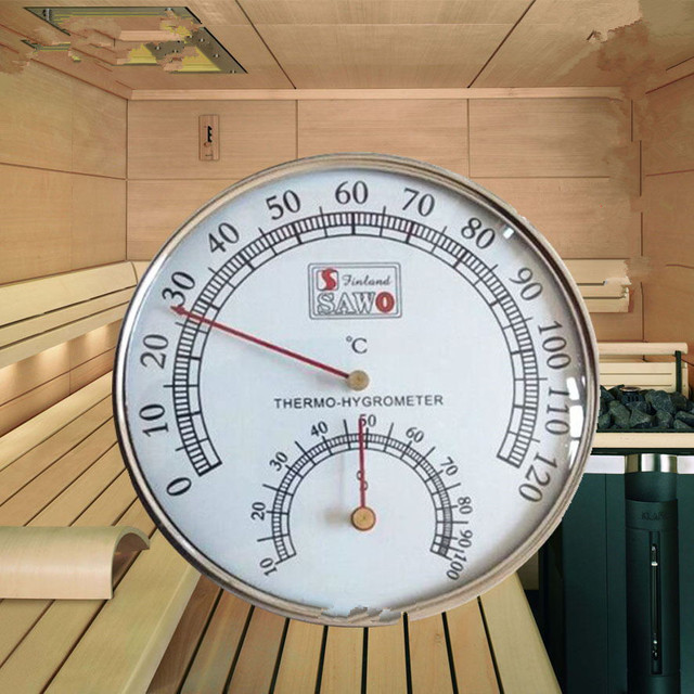 Sauna Thermometer Stainless Steel Case Steam Sauna Room Thermometers Hygrometer Bath And Sauna Indoor Outdoor Used
