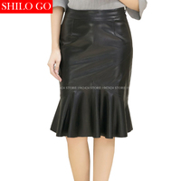 SHILO GO New Fashion Street Women's Empire Zipper Formal Office Trumpet Butterfly Sheepskin Genuine Leather Skirt Ladies Skirt