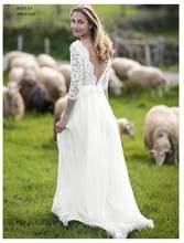 Дешевое свадебное платье с рукавами три четверти 2020 аппликациями