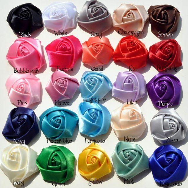 (120 pçs/lote 25 cores de volta plana mini fita de cetim rosa flor acessórios rosetas roladas à mão para grampo de cabelo ou bandana