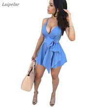 купить Spaghetti strap dresses New Summer Sexy Women ruffles Sleeveless Party Dress  Casual Mini Dress Deep v neck  beach sundress дешево