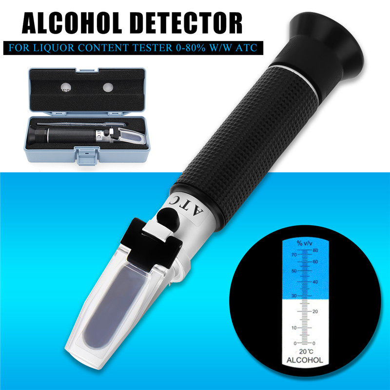 Alcohol 0-80% Test Refractometer Spirit Wine Alcoholic Tester Aluminum Alloy With ATC Portable Measuring Reader Meter Tool 4 8 days arrival lb92t portable sweetness tester brix meter with measuring range 58 92