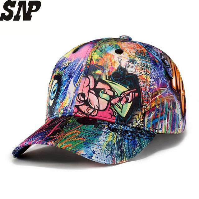 SNP New Skull abstract doodle Men Women Hats Leisure Baseball Cap Fashion  Trends Hip Hop Snapback b6cce74cb169