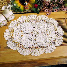 yazi Handmade Cotton Hollow Floral Tablecloths Thread Crochet Oval Lace Table Cover Home Hotel Wedding Party Decor
