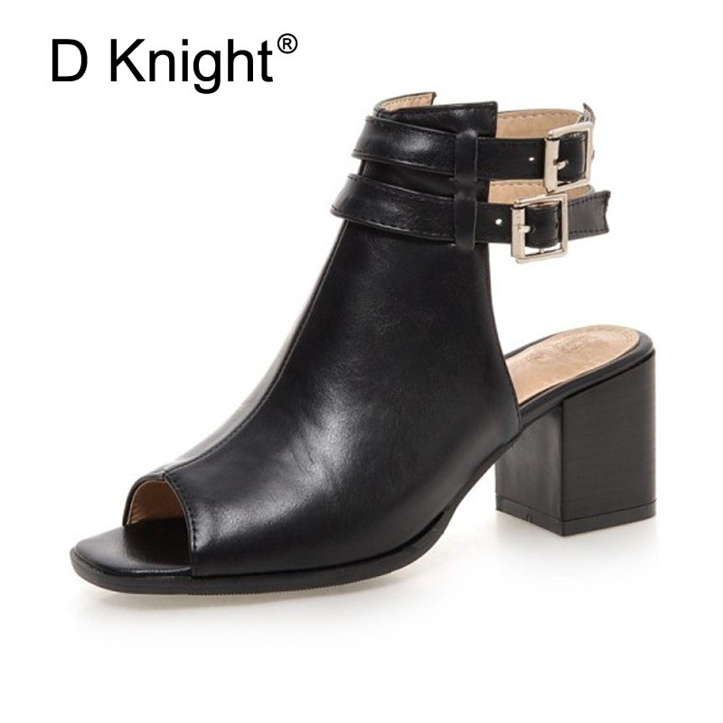 Plus Size 34-43 New Fashion Women Sandals Gladiator Square High Heels Casual Woman Shoes Peep Toe Buckle Pumps Black Beige Brown xiaying smile summer new woman sandals platform women pumps buckle strap high square heel fashion casual flock lady women shoes