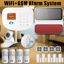 Chuangkesafe WIFI de Casa Inteligente/Interder GSM Wireless Home Seguridad Sistema de Alarma Antirrobo + Solar Strobe Siren + IP Al Aire Libre cámara