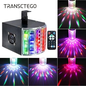 цены Led Disco Light 18W DMX 512 DJ RGB LED Party Lights Sound Actived Remote Control Disco Lamp Color Changing Stage Lamp Wedding