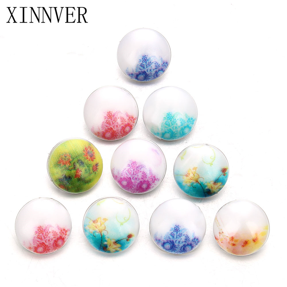 10pcs/lot New Fashion Mix Alloy Resin Flower 18mm Snap Button Fit Xinnver Snap Bracelets DIY Jewelry Findings Wholesale