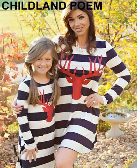 Новый мать дочь платья в полоску с длинным рукавом семьи сопоставления одежда хлопок рождество мать и дочь одежда семья посмотрите