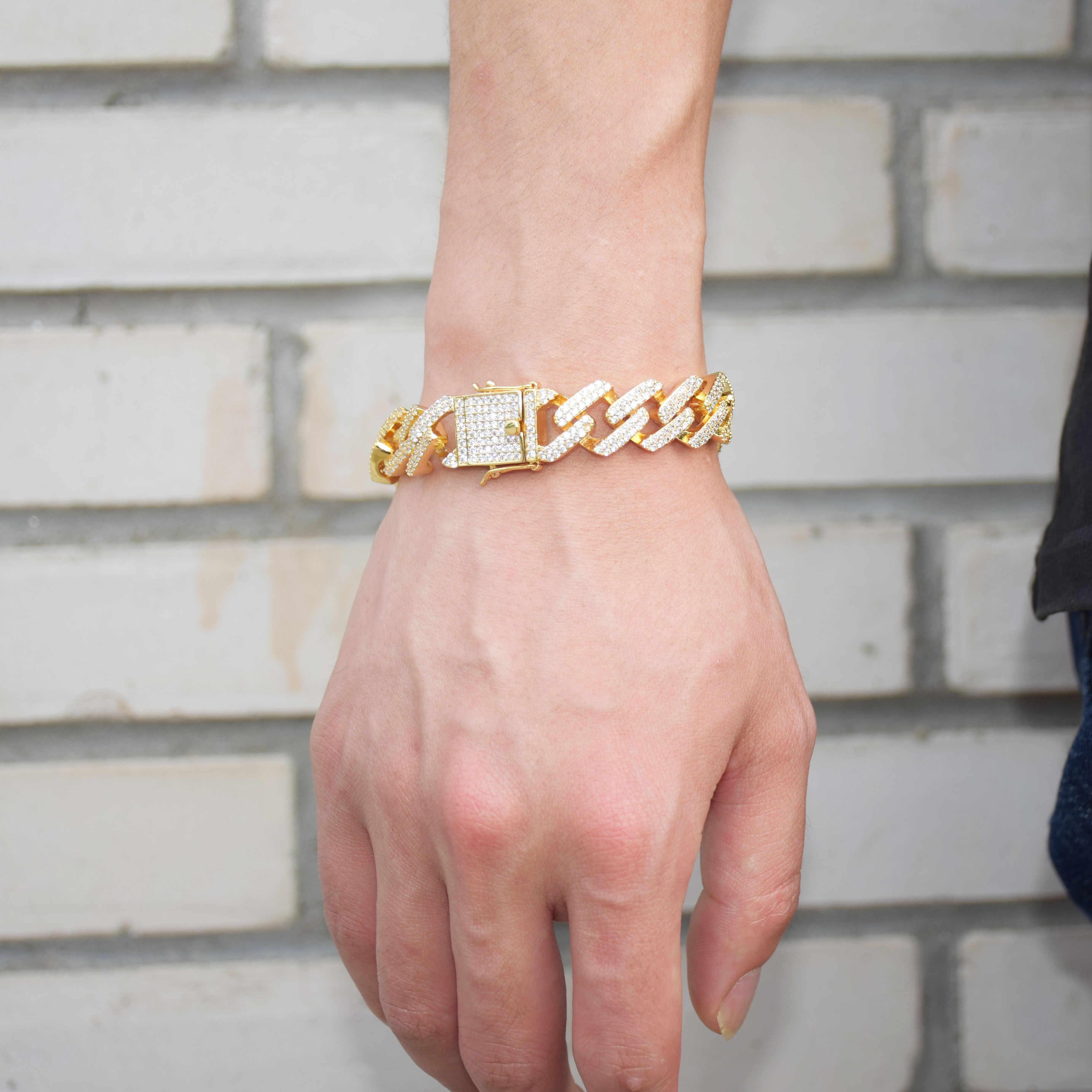 14 millimetri Piazza Miami Cuban Link Bracciale In Oro Color Argento Iced Out Cubic Zirconia Roccia Hip hop degli uomini di Stile gioielli