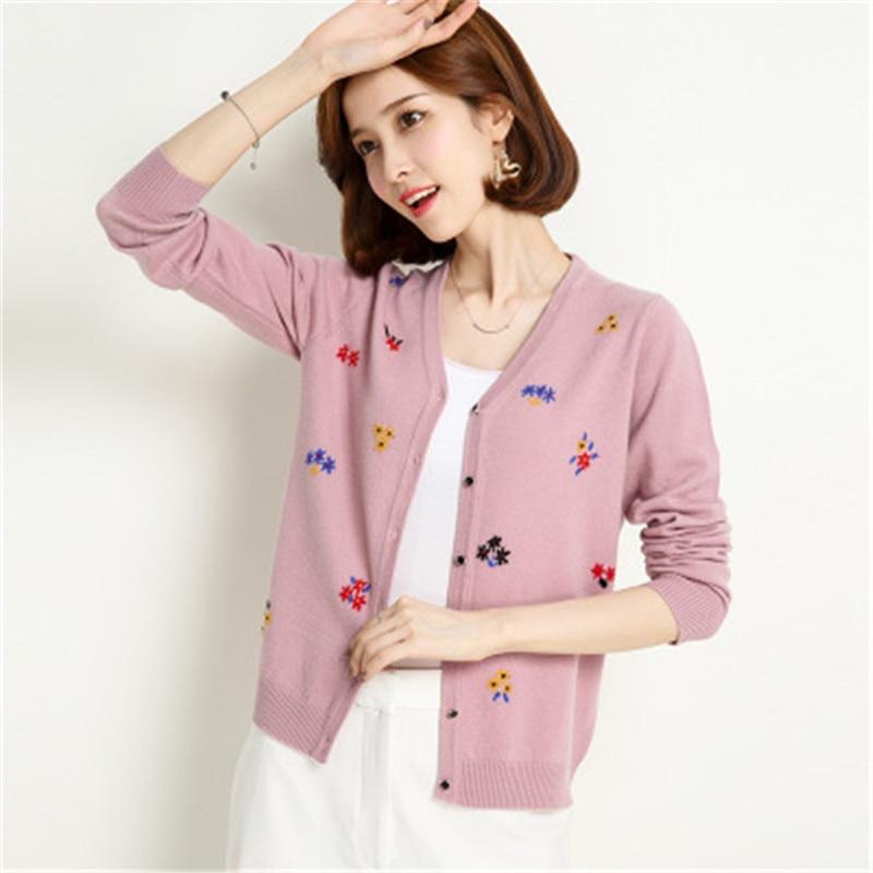 Pure laine tricot femmes mode étoile brodé vcou cardigan chandail simple boutonnage rose 4 couleur M-XL au détail en gros