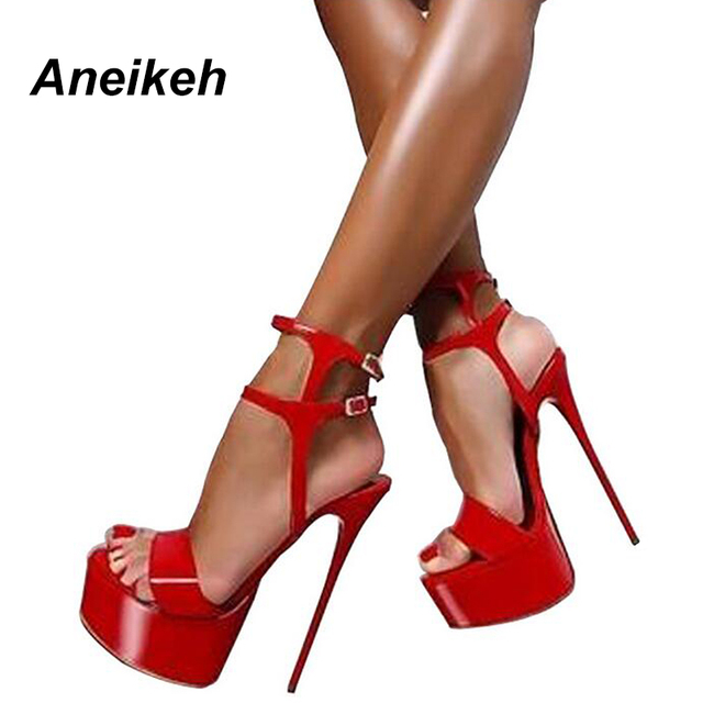 Aneikeh Extreme High Heel Sandals Fashion Womens Shoes Peep Toe Pumps Sexy 16cm Super High Heels Gladiator Buckle Strap Shoes