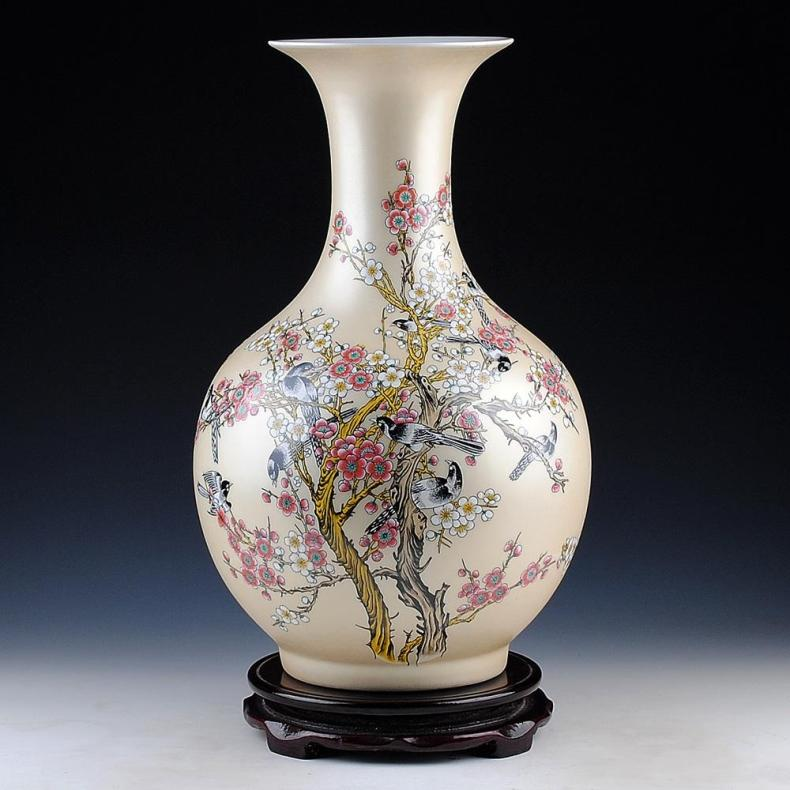 Ceramic Big Vase New Chinese Style Golden Magpie Plum Large Vase Living Room  Furnishing Articles Home Part 94