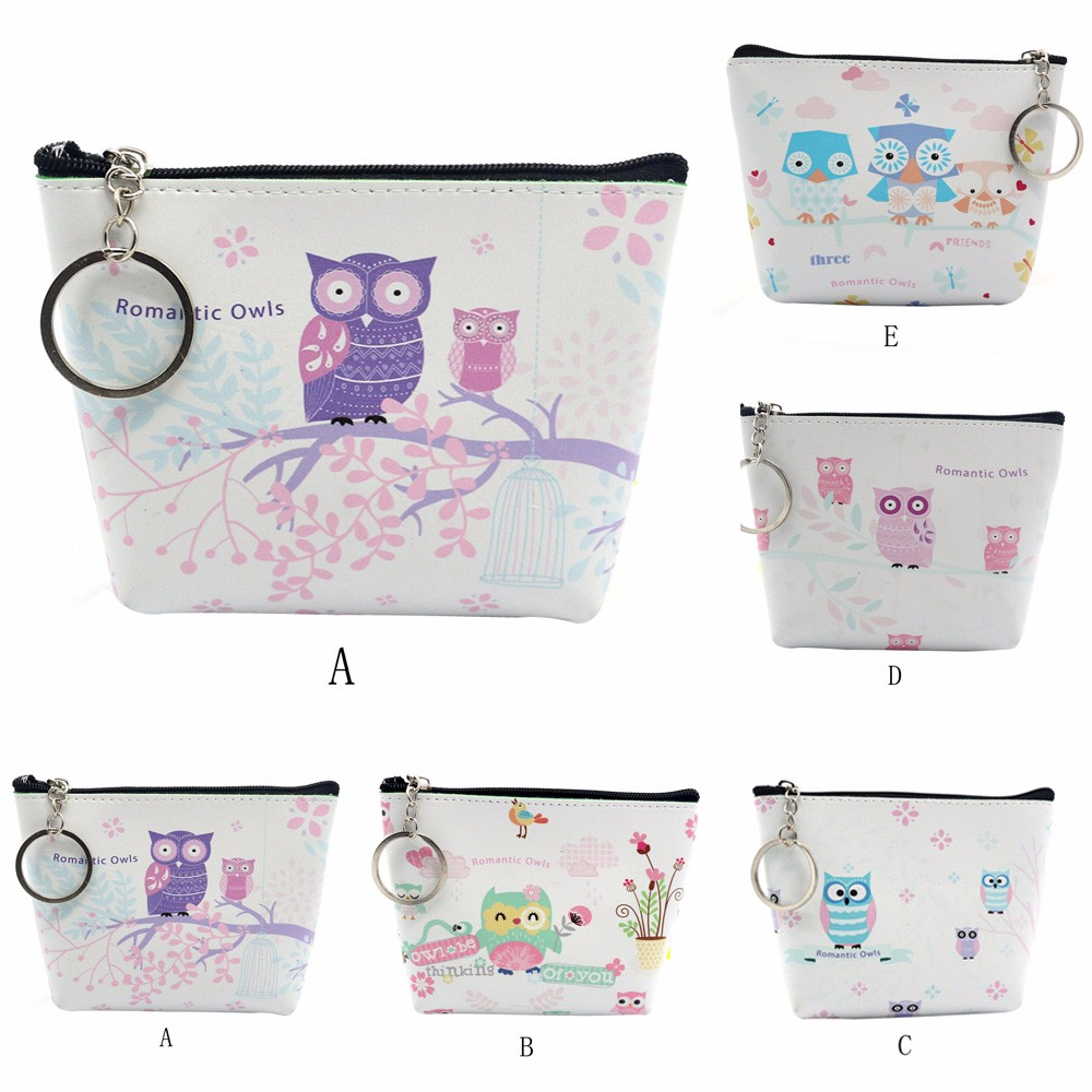 цены Fashion 2018 coin purse Women Girls Lady Leather cartoon owl print Small Wallet change Coin Purse Billeteras Para Mujer