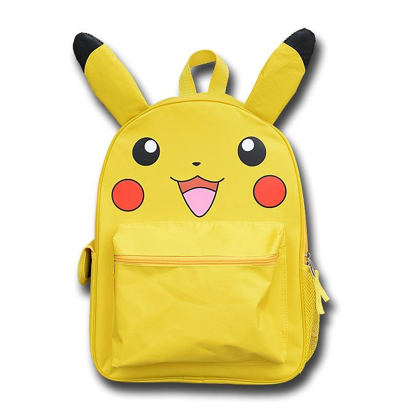 Japan Pokemon Harajuku Cartoon Backpack Pocket Monsters Pikachu 3D Yellow Cosplay Schoolbags Mochila School Book Bag with Ears  japan pokemon harajuku cartoon backpack pocket monsters pikachu 3d yellow cosplay schoolbags mochila school book bag with ears