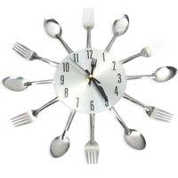Nowoczesny Design 3D Kuchenne Ze Stali Nierdzewnej Kwarcowy Zegarek Duża Kuchnia Nóż Widelec Łyżka Zegary Ścienne Ścienne do Dekoracji Wnętrz Biurowych