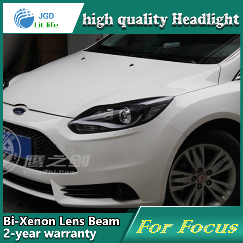 Car Styling Head Lamp case for Ford Focus 2012 2013 Headlights LED Headlight DRL Lens Double Beam Bi-Xenon HID car Accessories ownsun new style tear drop led projector lens headlight for new ford focus 2012 2013